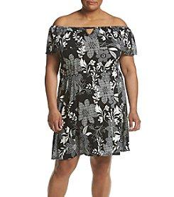 Relativity® Plus Size Off Shoulder Printed Dress