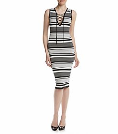XOXO® Striped Laceup Bodycon Dress