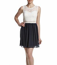A. Byer Sleeveless Lace Illusion Waist Dress