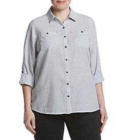 Relativity® Plus Size Roll Sleeve Utility Shirt