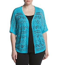 Relativity® Plus Size Solid Yarn Open Cardigan