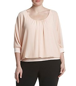 Relativity® Plus Size Solid Knit Woven Top