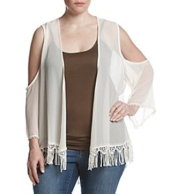 Eyeshadow® Plus Size Cold-Shoulder Fringe Kimono