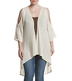 Living Doll® Plus Size Cold-Shoulder Cascade Kimono