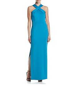 Calvin Klein Cross Neck Matte Jersey Gown
