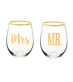 Cathy's Concepts Mr. & Mrs. Gold Rim Stemless Wine Glasses