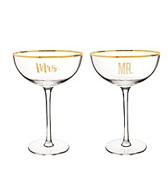 Cathy's Concepts Mr. & Mrs. Gold Rim Coupe Flutes