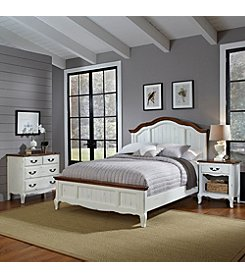 Home Styles® French Countryside Oak and Rubbed White Bed & Night Stand Set