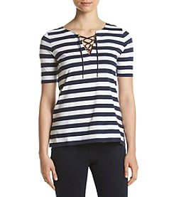 MICHAEL Michael Kors® Lace Up Striped Top