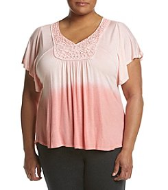 Oneworld® Plus Size Ombre Flutter Top