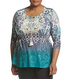 Oneworld® Plus Size Smocked Waist Printed Top
