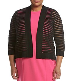 Kasper® Plus Size Shadow Stripe Shrug Cardigan