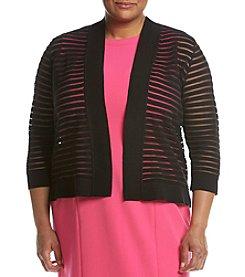 Kasper® Plus Size Shadow Stripe Shrug Cardigan