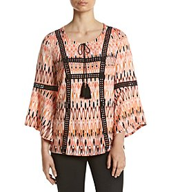 Relativity® Lace Up Bell Sleeve Blouse