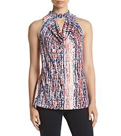 Relativity® Draped Keyhole Printed Top