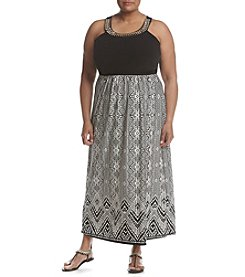 Studio Works® Plus Size Beaded Neckline Printed Dress