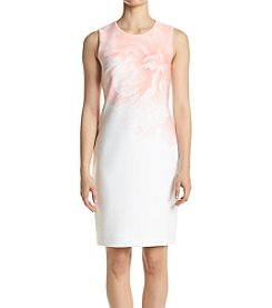 Calvin Klein Scuba Peach Floral Dress