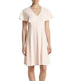 Calvin Klein Flutter Sleeve Seamed Dress