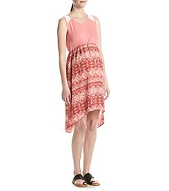 Three Seasons Maternity™ Solid Top Geo Print Skirt Dress