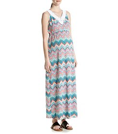 Three Seasons Maternity™ Chevron Print Maxi Dress With Embroidered Neck