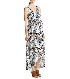 Three Seasons Maternity™ Pinafore Strap Tulip Hem Floral Maxi Dress