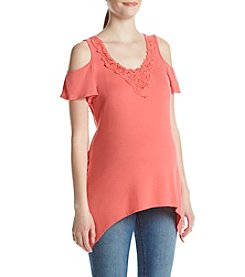 Three Seasons Maternity™ Cold Shoulder Crochet Trim Top