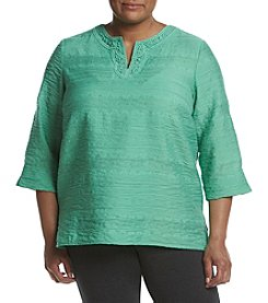 Alfred Dunner® Plus Size Bahama Bay Lace Yoke Woven Top