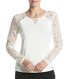 Calvin Klein Lace Sleeve Top