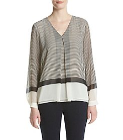 Calvin Klein Striped V-Neck Blouse