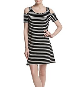 A. Moon Striped Cold-Shoulder Dress