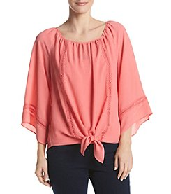 AGB® Tie Front Woven Blouse