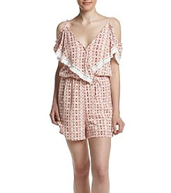 Sequin Hearts® Wrap Cold-Shoulder Romper