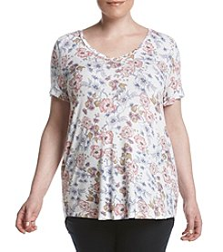 Pink Rose® Plus Size Rose V-Neck Tee