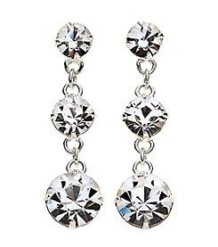 BT-Jeweled Triple Circle Linear Drop Earrings