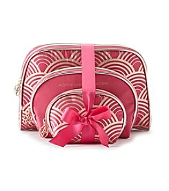 Tricoastal Set of 3 Gold and Pink Cosmetic Bags by Adrienne Vittadini