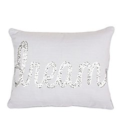 Dream Sequin Script Decorative Pillow