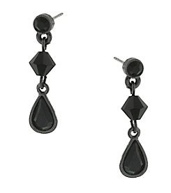 1928® Jewelry Black Beaded Teardrop Earrings