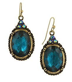 1928® Jewelry Burnished Indicolite Blue and AB Accent Oval Drop Wire Earrings