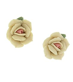 1928® Jewelry Silvertone Large Ivory Color Porcelain Rose Earrings