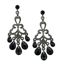 1928® Jewelry Black Chandelier Drop Earrings