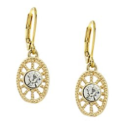 1928® Jewelry Goldtone Clear Crystal Petite Filigree Drop Earrings