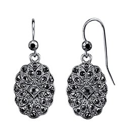1928® Jewelry Silvertone Hematite Color Crystal Oval Drop Earrings