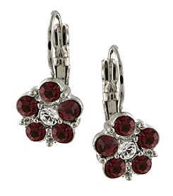1928® Jewelry Silvertone Red and Crystal Flower Drop Earrings