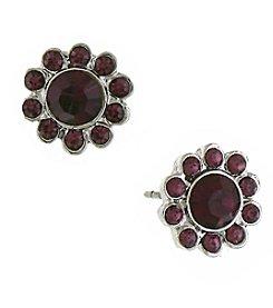 1928® Jewelry Silvertone Purple Flower Button Earrings