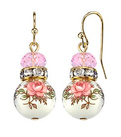 1928® Jewelry Goldtone Light Rose Pink and Floral Beaded Drop Earrings