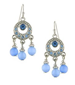 1928® Jewelry Silvertone Light Blue Cat Eye Bead Drop Earrings