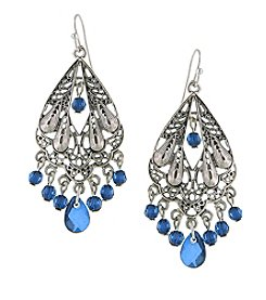 1928® Jewelry Silvertone Blue Chandelier Earrings