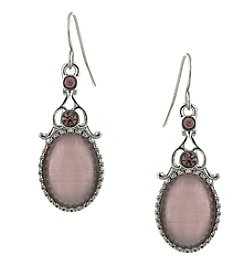 1928® Jewelry Silvertone Purple Crystal and Purple Cat Eye Oval Drop Earrings