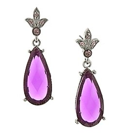 1928® Jewelry Silvertone Purple Stone and Light Purple Crystal Teardrop Earrings