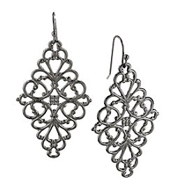 1928® Jewelry Black Filigree Diamond Drop Earrings